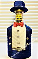 Украшение бутылки,подарок, шляпа,костюм,наряд, декор, handmade, стразы