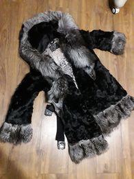 Шубка коза с енотом зима