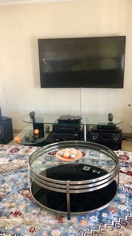 Modern Glass TV Stand Up For Grabs