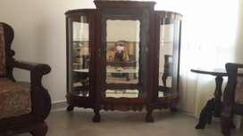 Rock Solid Imbuia Ball and Claw Sitting Room set & Display Cabinet