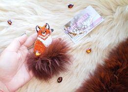 Брошка лисиця лисичка/Брошь ручная работа Лисица Лиса
