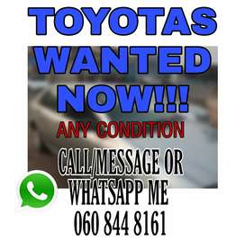 Toyotas wanted!!!
