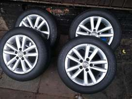A set of mags and Tyres for polo vivo 14 inch