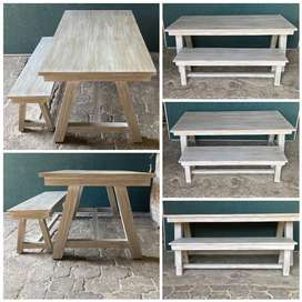 Patio table Chunky Cottage series 1950 A-frame legs Combo -Chalk paint
