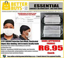 3 PLY Protective Face Mask, fabric SABS approved 50gsm  Elasticated,