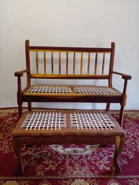 Large Solid Kiaat Wood Riempies Bench And Footstool