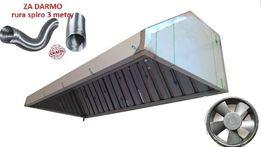 Okap gastronomiczny 200x70x40 filtry wentylator RURA kurier
