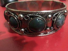 браслет браслетик мельхиор нефрит с натуральный камень старинный.