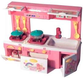 Mini Kitchen Play Set With Opening Doors, Sound & Light - Simulates a