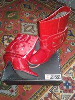 Продам сапоги (красные) 38 размер - 24,5 см