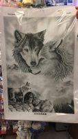 Продам вышивку бисером Волки