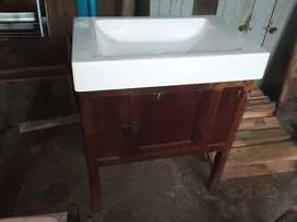 Antique oak washstand with flat sink on top