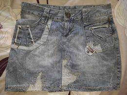 мини юбка джинсовая D&G Дольче Габанна голубая летняя