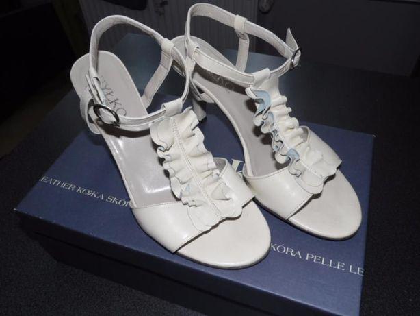 Skórzane buty kremowe, r.36,5, Ryłko Rybnik - image 1