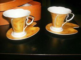 Gambini Studio serie Alessandra- komplet kawowy zdobiony 24 CT złotem