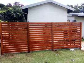 Solid wooden fence and Wood cladding