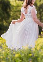 zwiewna Suknia ślubna 173 cm wzrostu koronka rozm M.