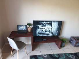 Wild Cherry stained pine wood Desk/TV unit designed