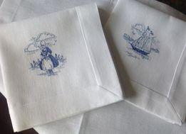 """Льняные салфетки с ручной вышивкой """"Голландский фарфор """""""