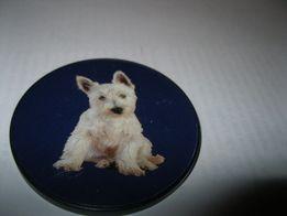 женский аксессуар зеркало круглое карманное белый терьер собака пес