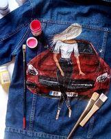 Джинсовка джинсовая куртка пиджак с росписью красками рисунок не принт