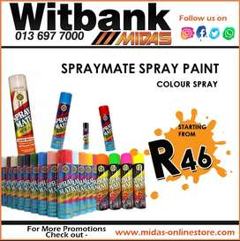 Spraymate Spray Paint starting from ONLY R46 at Midas Witbank!