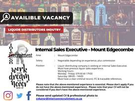 Internal Sales Executive - Mount Edgecombe