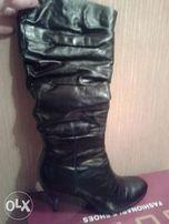 Зимние сапоги на каблуке Glossi (натуральная кожа)39 р.