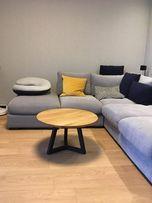 Stolik kawowy dębowy okrągły stal dąb loft industrialny nowoczesny