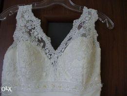 Śliczna koronkowa suknia ślubna!