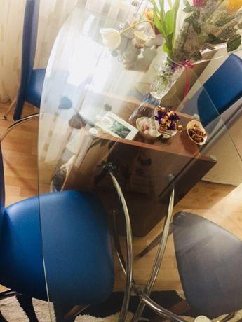 Стол стеклянный на деревянной основе производства Италия Херсон - изображение 1