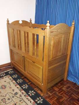 Oak cot and rocking chair set