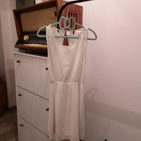 Biała sukienka h&m krzyżakowe plecy szyfonowa letnia wesele szyfon S Dąbrowa Górnicza - image 1
