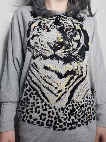 szara bluzka tygrys, rozmiar uniwersalny Kraków - image 6
