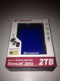 Image of Transcend 2TB portable hard drive, drop tested.