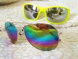 Okulary przeciwsłoneczne uv pilotki lustrzane tęczowe rowerowe ray-ban