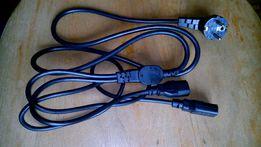 Кабеля силовые 220V на 2 выхода, кабеля DVI-DVI. Новые.