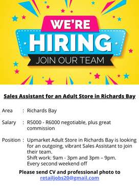 Sales Assistant for an Adult Store in Richards Bay