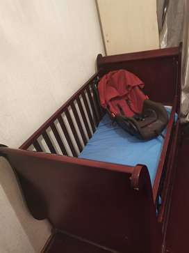 Wooden Sleigh cot and car seat
