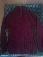 Свитер,кофта мужская 52 р(L, XL),ручная работа,черно-бордовый