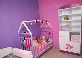 Łóżeczko drewniane domek dla dzieci biało fioletowe