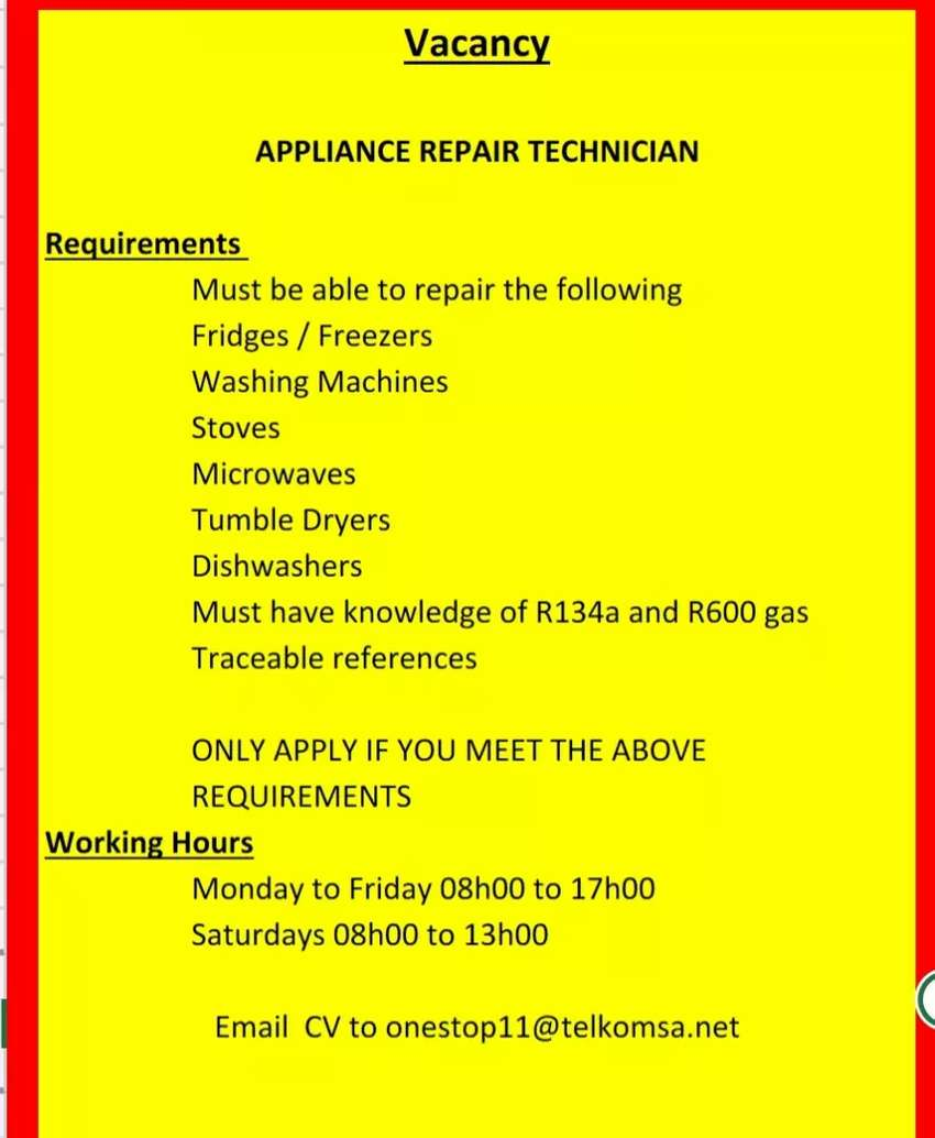 Appliance repair technician required 0