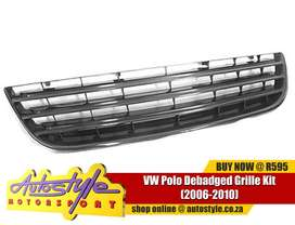 VW Polo Debadged Grille - black plastic grille - clips o