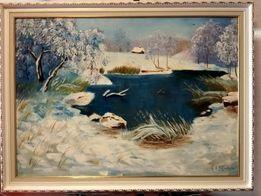 Картина маслом пейзаж, зима, снег, озеро