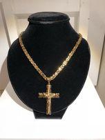 Złoty Męski łańcuszek wykonany ze stali chirurgicznej pozłacany krzyż