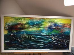 Obraz olejny recznie malowany . Duży Oprawiony w białej ramie