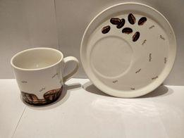 Filiżanka ze spodkiem z motywem kawy duży talerzyk