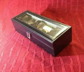 Gifts! Watch Jewellery Display Case 6 grid Black Wood
