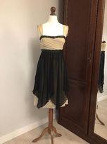 Sukienka beżowo czarna z kamieniami r. 36, Desperado London