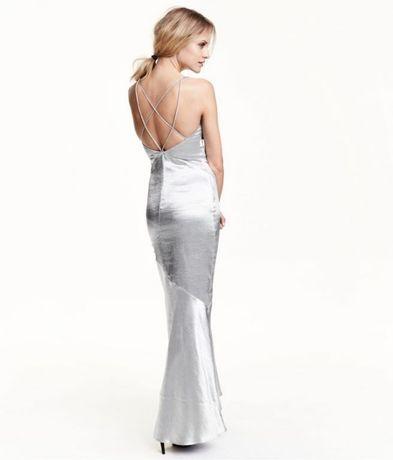 H&M suknia maxi silver srebro falbana satynowa S M NOWA Lublin - image 1
